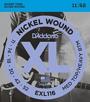D'ADDARIO EXL116 струны для электрогитары, Medium Top/heavy bottom, 11-52