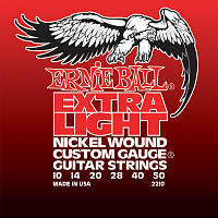 Ernie Ball 2210 струны для электрогитары Nickel Wound Extra Light, 10-14-20w-28-40-50