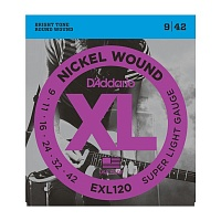 D'ADDARIO EXL120 струны для электрогитары, Super Light, никель, 9-42