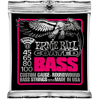 Ernie Ball 3834 струны для бас-гитары Coated Bass Super Slinky (45-65-80-100)