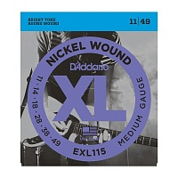 D'ADDARIO EXL115 струны для электрогитары, Blues/Jazz Rock, никель, 11-49