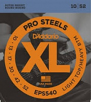 D'ADDARIO EPS540   струны для электрогитары ProSteel, сталь, Light Top/Heavy Bottom 10-52