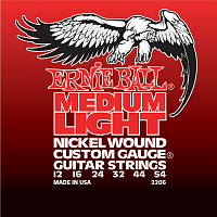 Ernie Ball 2206 струны для электрогитары Nickel Wound Medium Light, 12-16-24w-32-44-54