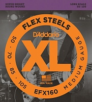 D'ADDARIO EFX160 струны для бас гитары FlexSteels Bass, Medium, 50-105, Long Scale