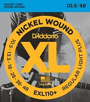 D'ADDARIO EXL110+ струны для электрогитары, Reg, Light+, никель, 10,5-48