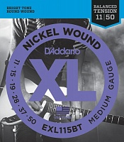 D'ADDARIO EXL115BT струны для электрогитары, Blues/Jazz Rock, никель, 11-50