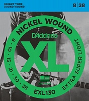 D'ADDARIO EXL130 струны для электрогитары., Extra Super Light, никель, 8-38