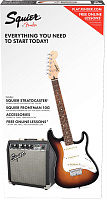 FENDER Squier Stratocaster® Pack, Laurel Fingerboard, Brown Sunburst, Gig Bag, 10G - 230V EU Комплект: электрогитара (санберст) + комбо