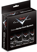 FENDER® Custom Shop Deluxe Guitar Care System, 4 Pack, Black - набор из 4-х средств по уходу за гитарой