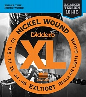 D'ADDARIO EXL110BT струны для электрогитары, Regular Light, никель, 10-46