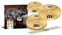"MEINL HCS-1314+10S - комплект тарелок 13"" Hi-Hat /14"" Crash + 10"" Splash Free + палочки Pro Mark 5A FREE, сплав латунь MS63 (медь 63%, цинк 37%)"